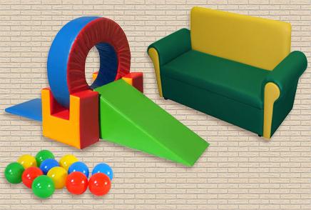 Игровые модули • Сухие бассейны, мягкая детская мебель.