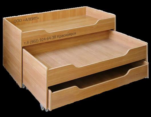 Выкатная кровать для детских садов Трехъярусная