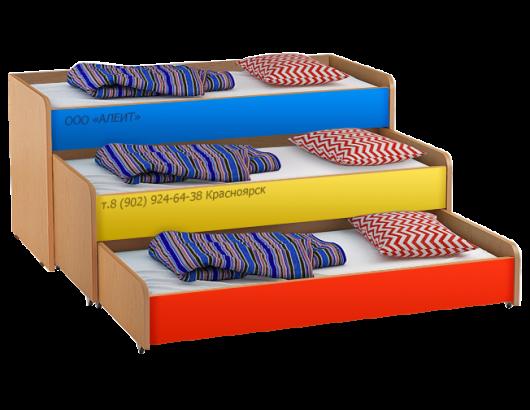 Выкатная кровать Трехъярусная в детские садики