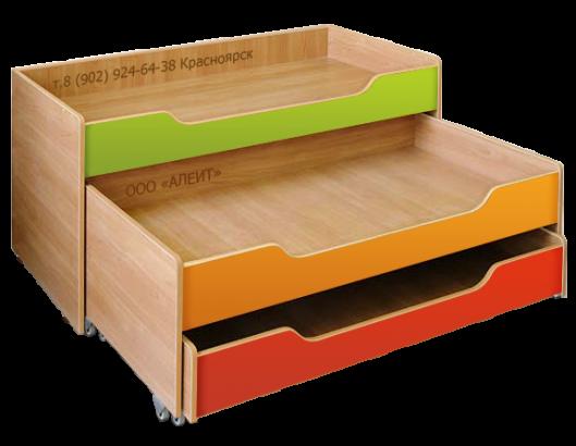 Детская выкатная кровать 3-х ярусная для детского сада