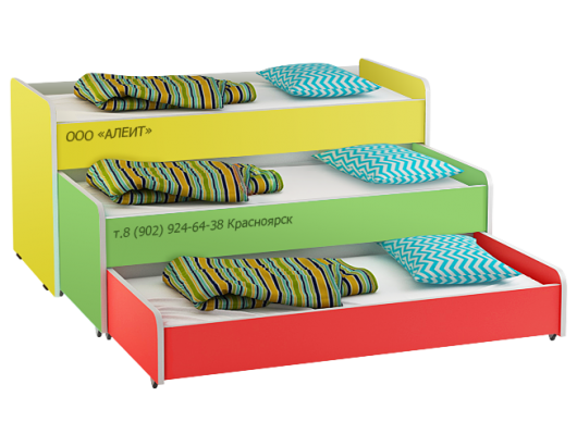 Кровать трехъярусная для детского сада, дешево оптом